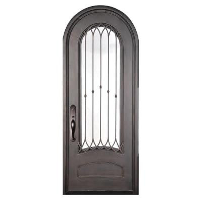 40 in. x 98 in. Concord Classic 3/4 Lite Painted Oil Rubbed Bronze Decorative Wrought Iron Prehung Front Door