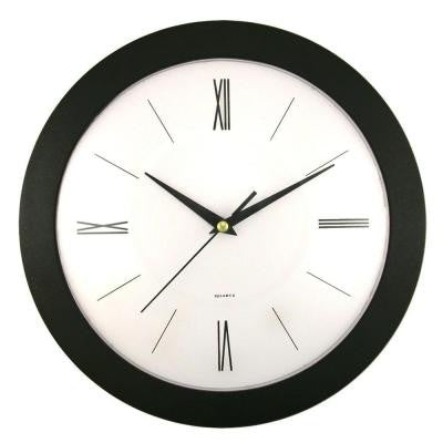 12 in. Round Black Frame White Dial Wall Clock