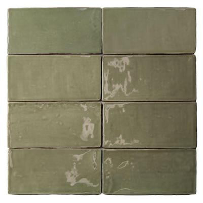 Catalina Kale 3 in. x 6 in. x 8 mm Ceramic Floor and Wall Subway Tile (8 Tiles Per Unit)