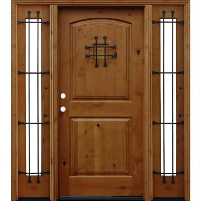 70 in. x 80 in. Arched 2-Panel Stained Knotty Alder Wood Prehung Front Door w/ 6 in. Wall Series & 14 in. Sidelites
