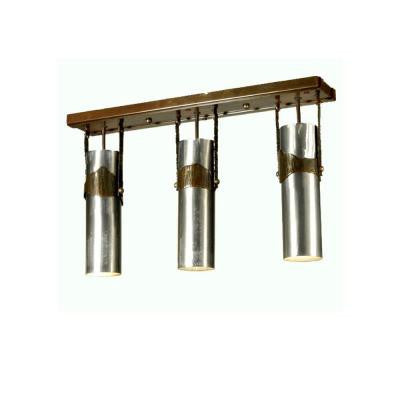 3 Light Iron Mountain Island Pendant Steel Finish