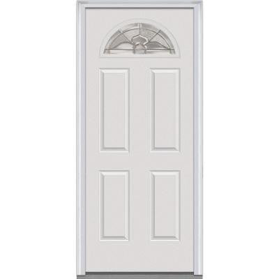 32 in. x 80 in. Master Nouveau Decorative Glass 1/4 Arch Lite 4-Panel Primed White Steel Prehung Front Door