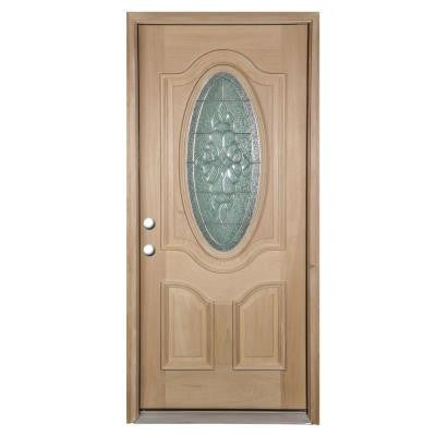 36 in. x 80 in. Deluxe Decorative 3/4 Oval Lite Unfinished Yesquero Blanco Right-Hand Solid Wood Prehung Front Door