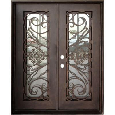 30 in. x 78 in. Copper Right-Hand Inswing Wrought Iron Double Straight Top Prehung Front Door