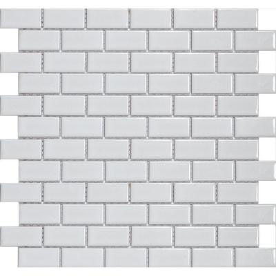 Metro Subway Glossy White 11-3/4 in. x 11-3/4 in. x 5 mm Porcelain Mosaic Floor and Wall Tile (9.6 sq. ft. / case)