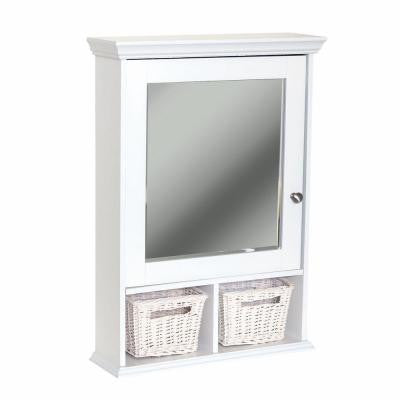 21 in. x 29 in. Wood Surface-Mount Medicine Cabinet with Baskets in White with Beveled Mirror