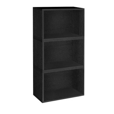 Hillcrest Eco 3-Compartment zBoard Stackable Modular Bookcase and Storage Shelf in Black
