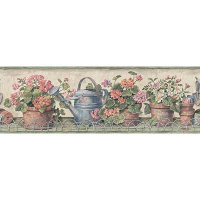 6.83 in. x 15 ft. Orange and Green Potted Geranium Border