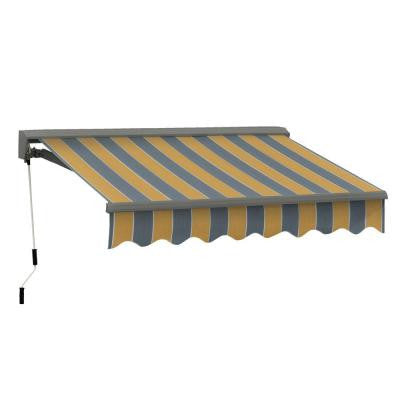 10 ft. Classic C Series Semi-Cassette Manual Retractable Patio Awning (98 in. Projection) in Yellow/Gray Stripes