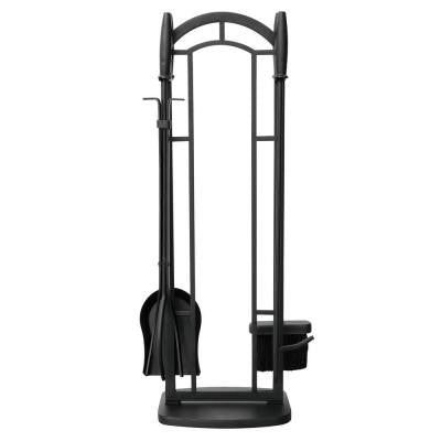 Black 5-Piece Fireplace Tool Set with Cylinder Handles