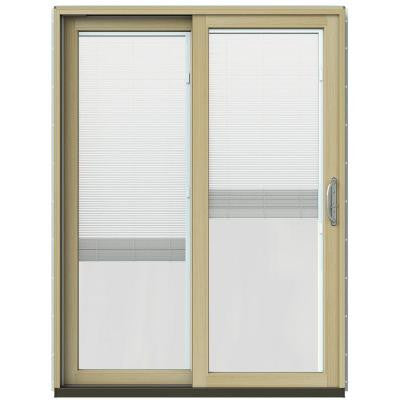 59-1/4 in. x 79-1/2 in. W-2500 Mesa Red Prehung Left-Hand Clad-Wood Sliding Patio Door with Blinds