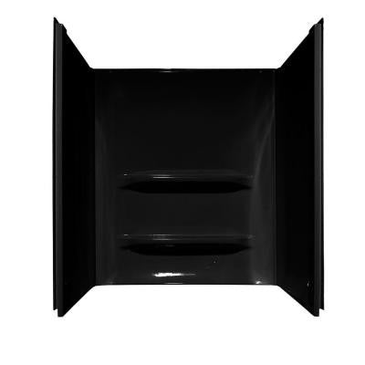 Elite 34 in. x 48 in. x 53 in. 3-Piece Direct-to-Stud Shower Wall Kit in Black