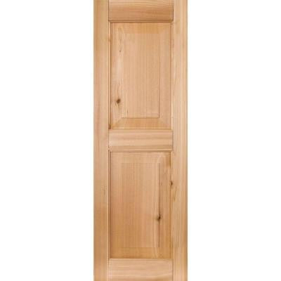 12 in. x 34 in. Exterior Real Wood Pine Raised Panel Shutters Pair Unfinished