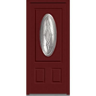 36 in. x 80 in. Brentwood Decorative Glass 3/4 Oval Lite 2-Panel Painted Fiberglass Smooth Prehung Front Door