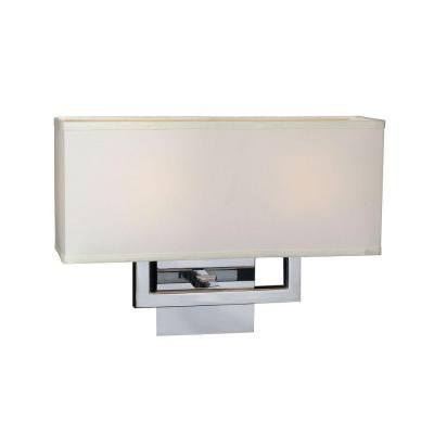 2-Light Polished Chrome Sconce with Off-White Fabric Shade