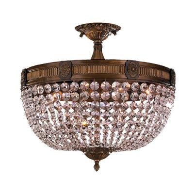 Winchester 6-Light Antique Bronze and Clear Crystal Semi-Flush Mount