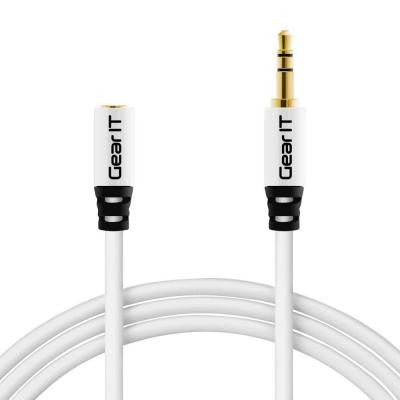 3 ft. 3.5 mm Stereo Audio Extension Cable with Step Down Design - White (5-Pack)