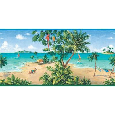 10.25 in. x 15 ft. Primary Colored Tropical Beach Scene Border