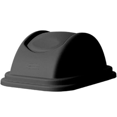 Untouchable 28 Qt. Black Square Trash Can Domed Swing Top Lid