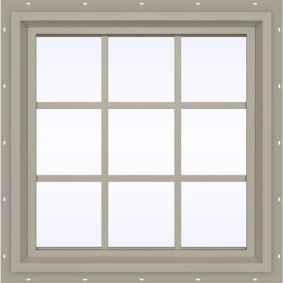 23.5 in. x 35.5 in. V-4500 Series Fixed Picture Vinyl Window with Grids - Tan
