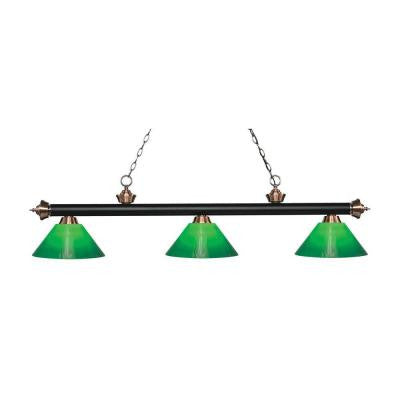 Sandrine 3-Light Matte Black and Antique Copper Island Light with Green Glass Shades