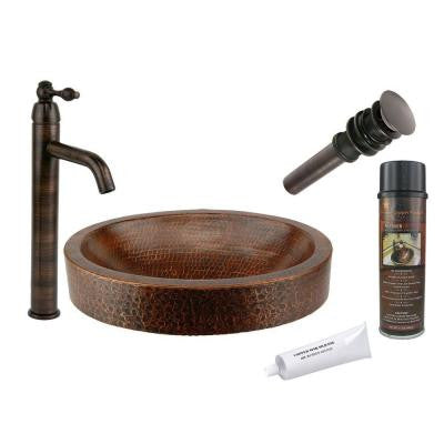 All-in-One Compact Oval Skirted Vessel Hammered Copper Bathroom Sink in Oil Rubbed Bronze