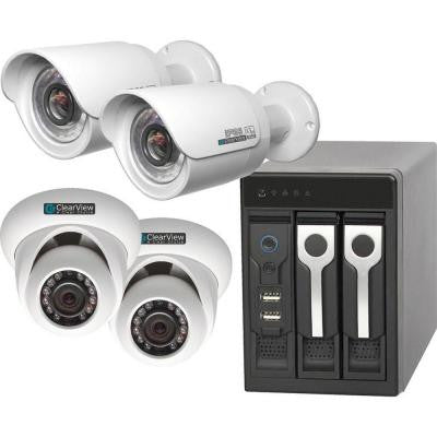4-Channel Phoenix View 2 Dome and 2 Bullet IP Megapixel Camera Network Video Recorder Kit