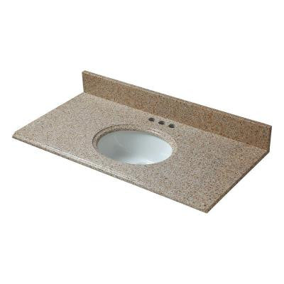 37 in. W Granite Vanity Top in Beige with White Basin and 4 in. Faucet Spread