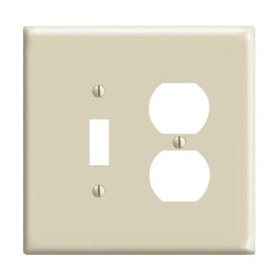 2-Gang Midway 1 Toggle 1 Duplex Combination Nylon Wall Plate - Ivory