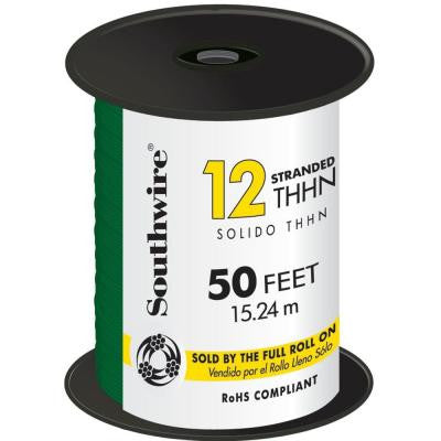 50 ft. 12/2 Stranded THHN Wire - Green