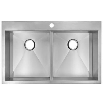 Top Mount Zero Radius Stainless Steel 33x22x10 1-Hole Double Bowl Kitchen Sink in Satin Finish