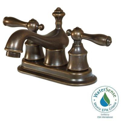 Estates 4 in. Centerset 2-Handle High-Arc Bathroom Faucet in Heritage Bronze