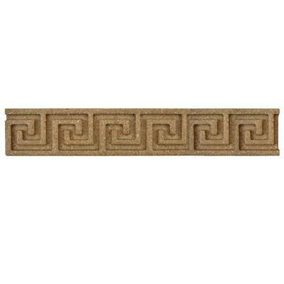 Contempo Greek Key Noce Travertine Liner 1 in. x 6 in. Wall Trim Tile