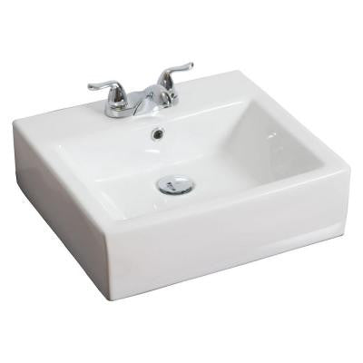 20-in. W x 18-in. D Above Counter Rectangle Vessel Sink In White Color For 4-in. o.c. Faucet