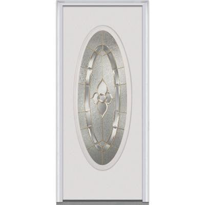 30 in. x 80 in. Master Nouveau Decorative Glass Full Oval Lite Primed White Majestic Steel Prehung Front Door