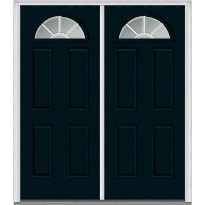 72 in. x 80 in. Classic Clear Glass GBG 1/4-Lite Painted Fiberglass Smooth Double Prehung Front Door