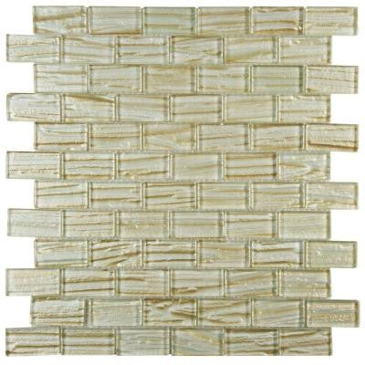 Aspen Subway Cream 12-1/2 in. x 12-1/2 in. x 5 mm Glass Mosaic Wall Tile