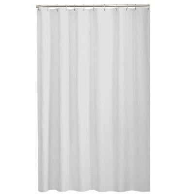 Dobby Fabric 72 in. Shower Curtain in White