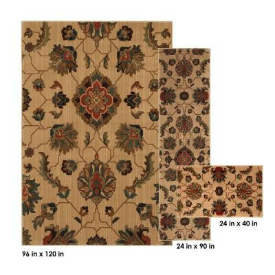 Canton Litet Beige 8 ft. x 10 ft. 3-Piece Rug Set