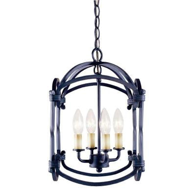 Hastings Collection 4-Light Outdoor Rust Hanging Lantern