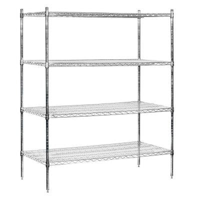 9600S Series 60 in. W x 74 in. H x 24 in. D Industrial Grade Welded Wire Stationary Wire Shelving in Chrome