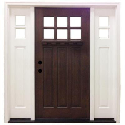 60 in. x 80 in. Craftsman 6 Lite Stained Mahogany Wood Prehung Front Door with Sidelites