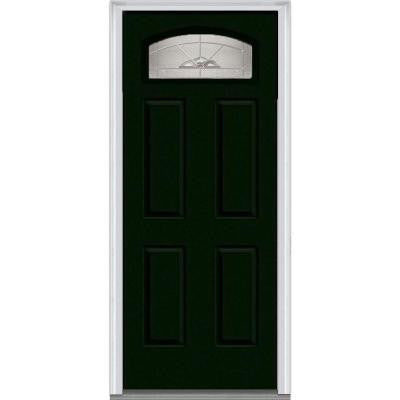 30 in. x 80 in. Master Nouveau Decorative Glass Segmented 1/4 Lite 4-Panel Painted Majestic Steel Prehung Front Door