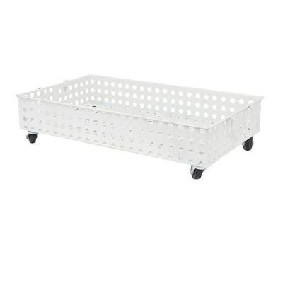 6 in. H Metal Rolling Basket in White
