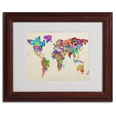 11 in. x 14 in. USA States Text Map - Forest Matted Framed Art