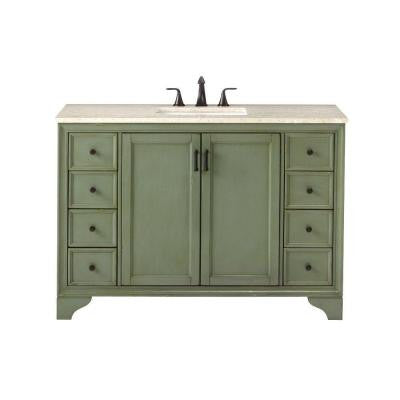 Hazelton 49 in. Vanity in Antique Green with Marble Vanity Top in Beige