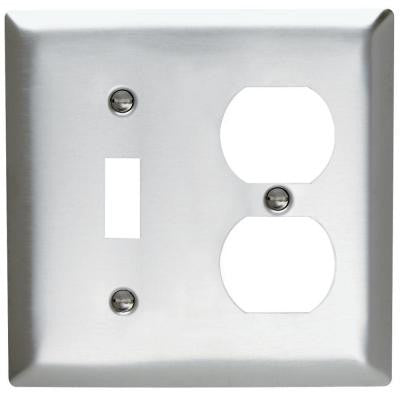 2-Gang Combo 1 Toggle and 1 Duplex Outlet Wall Plate - Stainless Steel