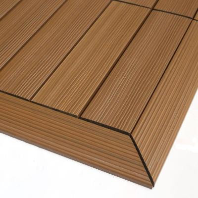 Quick Deck 2 in. x 1 ft Composite Deck Tile Outside Corner Trim in Peruvian Teak (2-Pieces/box)
