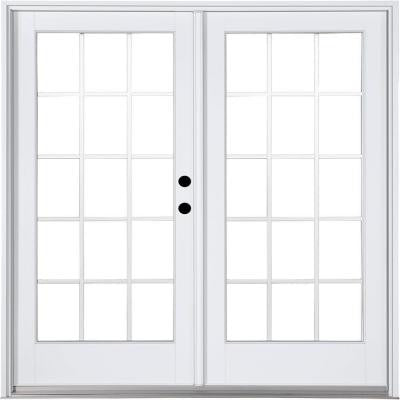 71-1/4 in. x 79-1/2 in. Composite White Left-Hand Inswing Hinged Patio Door with 15 Lite Internal Grilles Between Glass