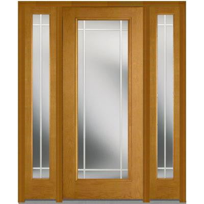 64 in. x 80 in. Classic Clear Glass PIM Full Lite Finished Oak Fiberglass Prehung Front Door with Sidelites